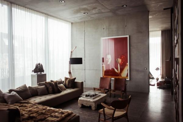 Christian & Karen Boros beton penthouse lakása – Berlin – életterek 003