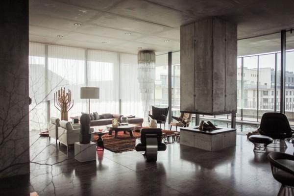 Christian & Karen Boros beton penthouse lakása – Berlin – életterek 002