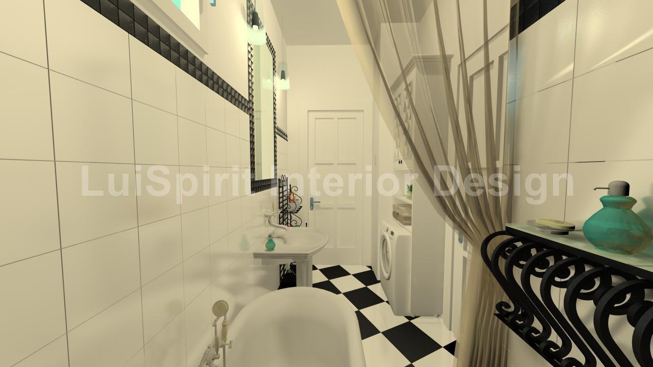 fürdőszoba fekete-fehérre hangolva