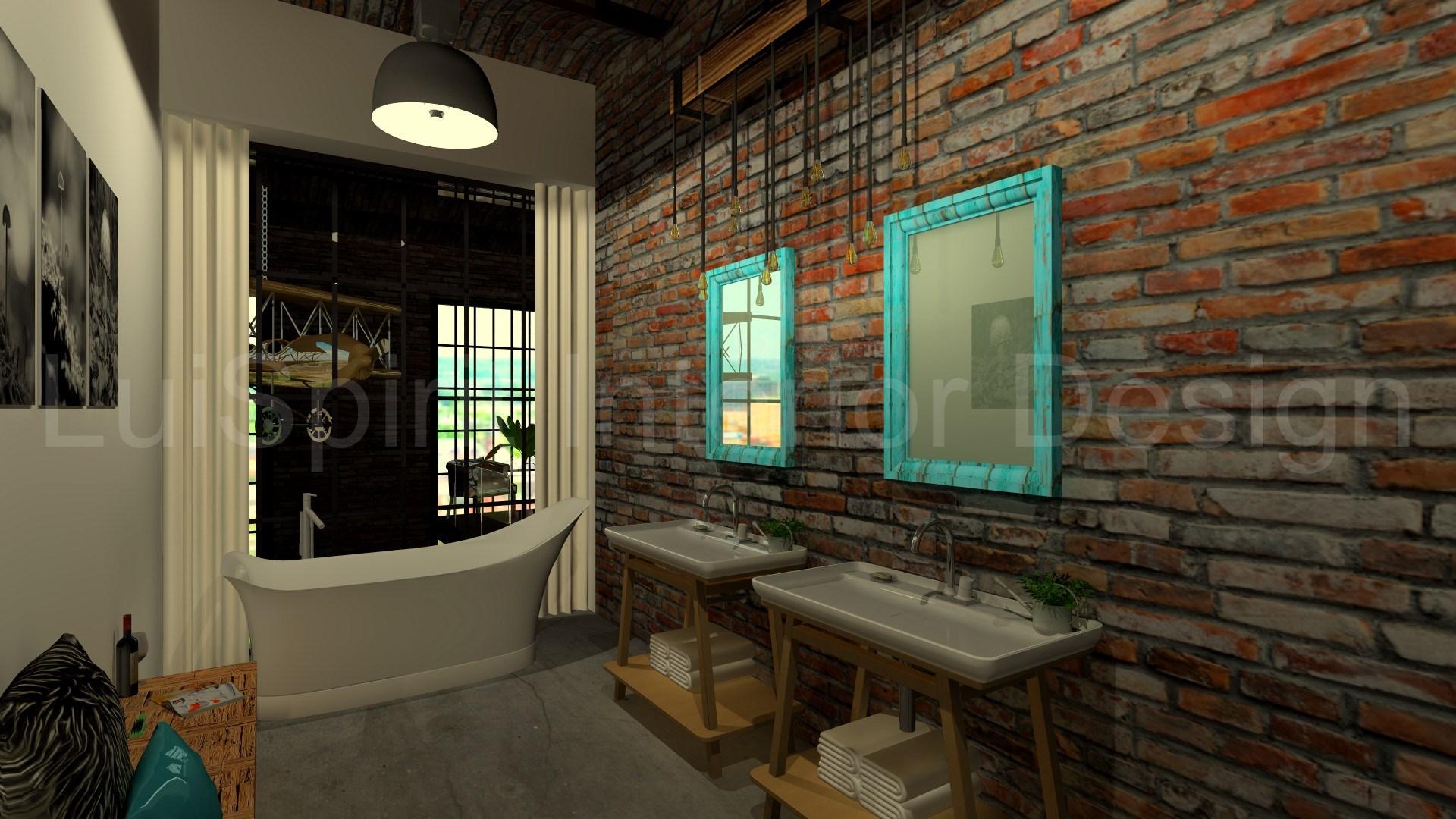 LOFT-HON fürdő mosdók, háttérben a fürdőkáddal