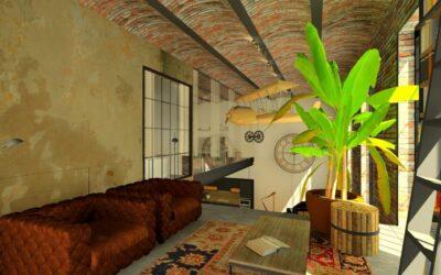 ZONA INDUSTRIALE loft lakás tervezése galéria KÖNYVTÁR